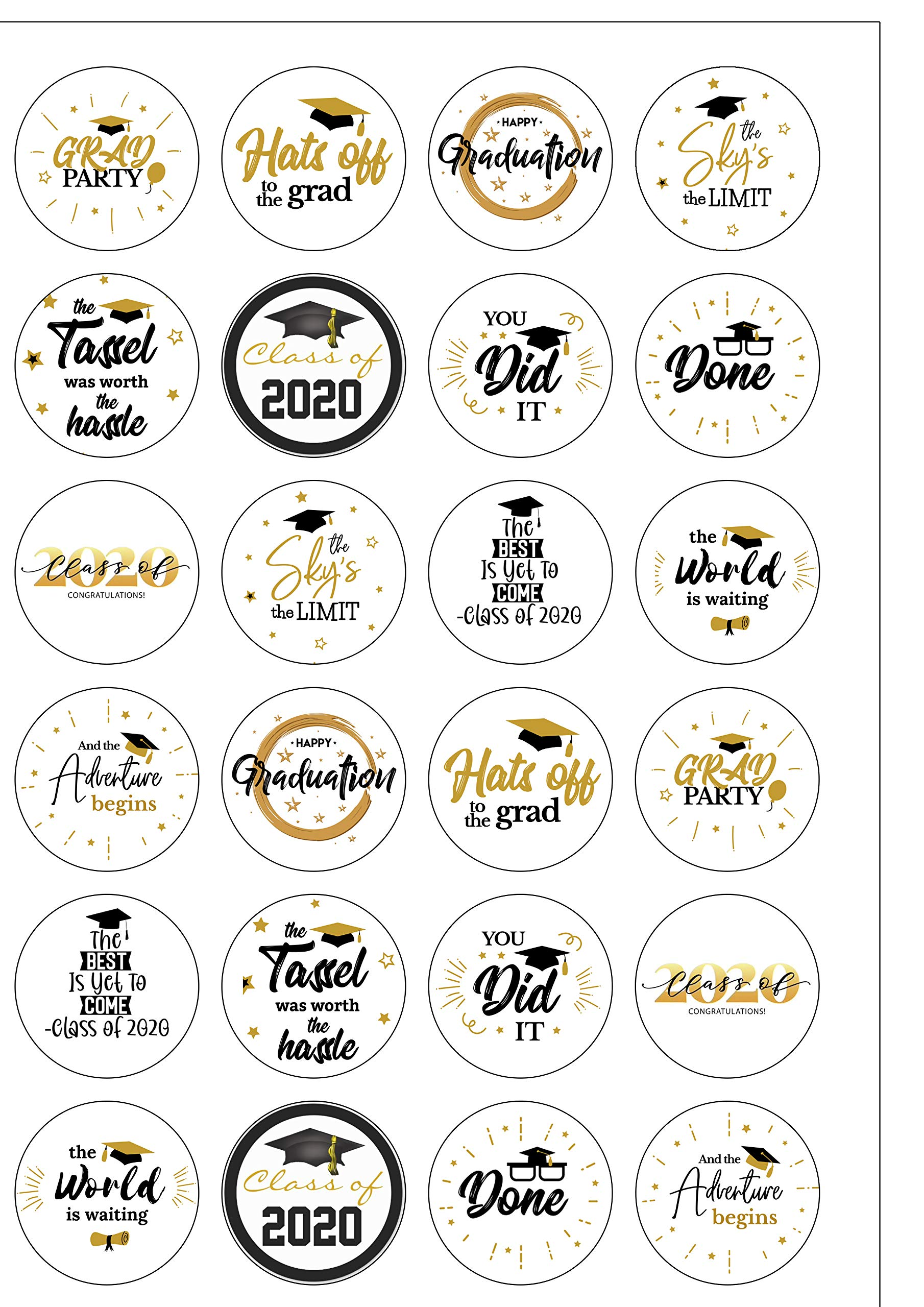24 Graduation Class Of 2020 Edible Wafer Paper Cupcake Toppers Cake Decoration