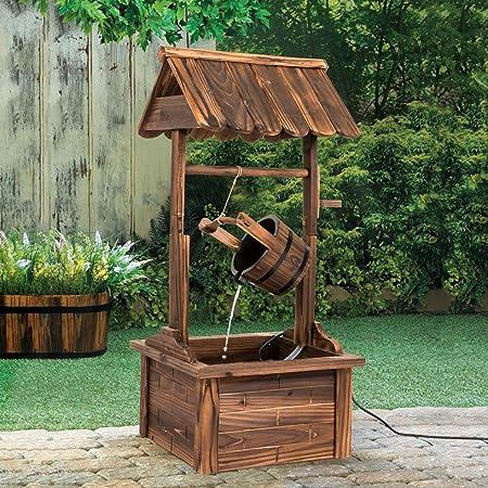 Fuente de agua de madera rústica para jardín al aire libre con bomba: Amazon.es: Jardín