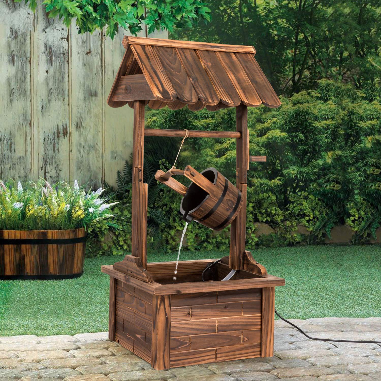 Worldrich 44-Inch Outdoor Garden Rustic Wood Wishing Well Water Fountain with Pump