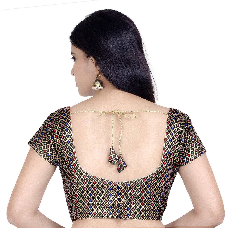Chandrakala Women's Designer Bollywood Readymade Multi Saree Blouse Padded Brocade Choli (B106MUL3) by Chandrakala (Image #3)