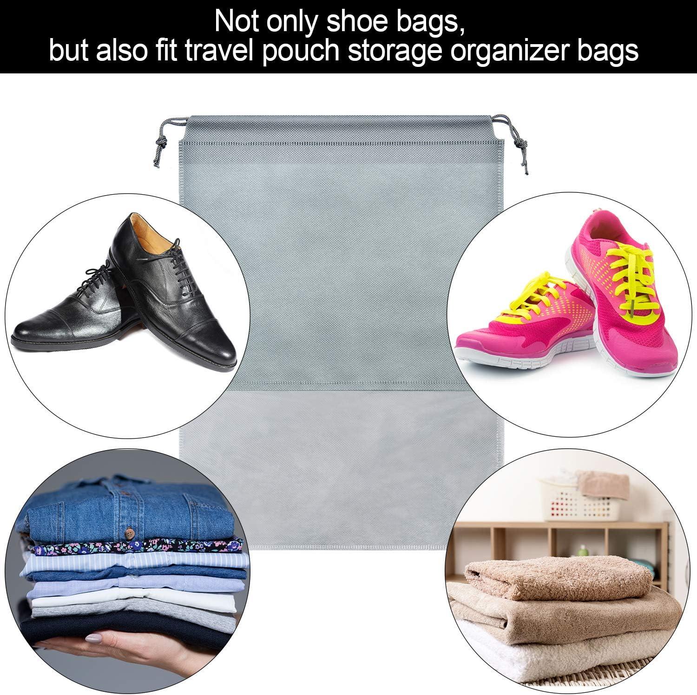 SATINIOR 12 Pi/èces Sac /à Chaussures de Voyage Grand Pochette de Rangement Sac de Rangement Non Tiss/é avec Fen/être Transparente et Cordon Taille 1, Style 1