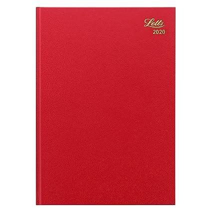 Letts Standard - Agenda de 2020, tamaño A4, color rojo ...