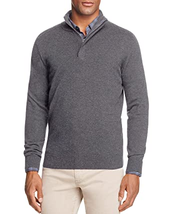 3fe295676de Hugo Boss Boss Men's Bonny 1/4 Zip Virgin Wool Blend Jumper Sweater  (Charcoal