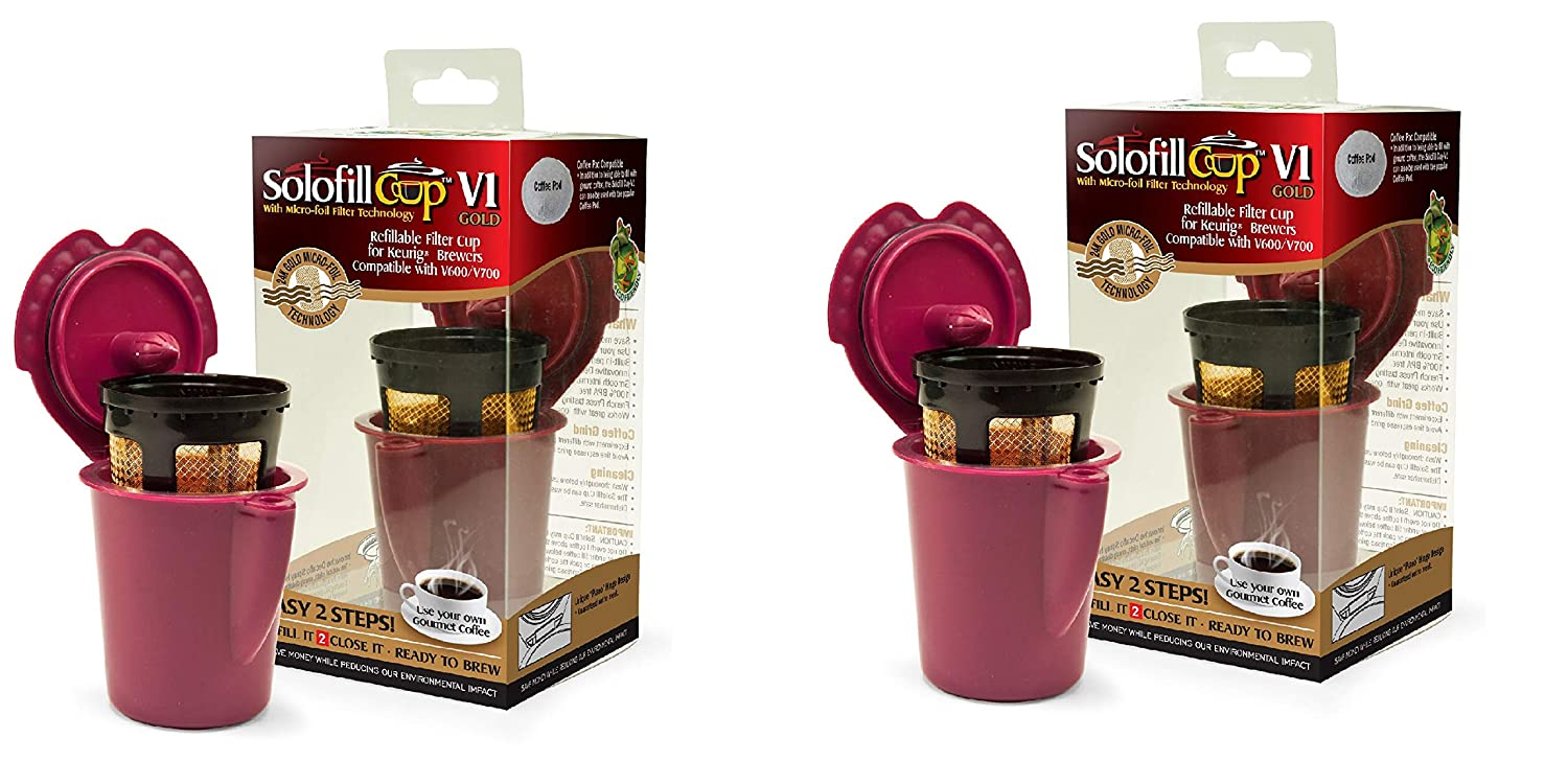 Solofill V1 GOLD CUP 24K Plated Refillable Filter Cup for Coffee Pod (2 Pack)