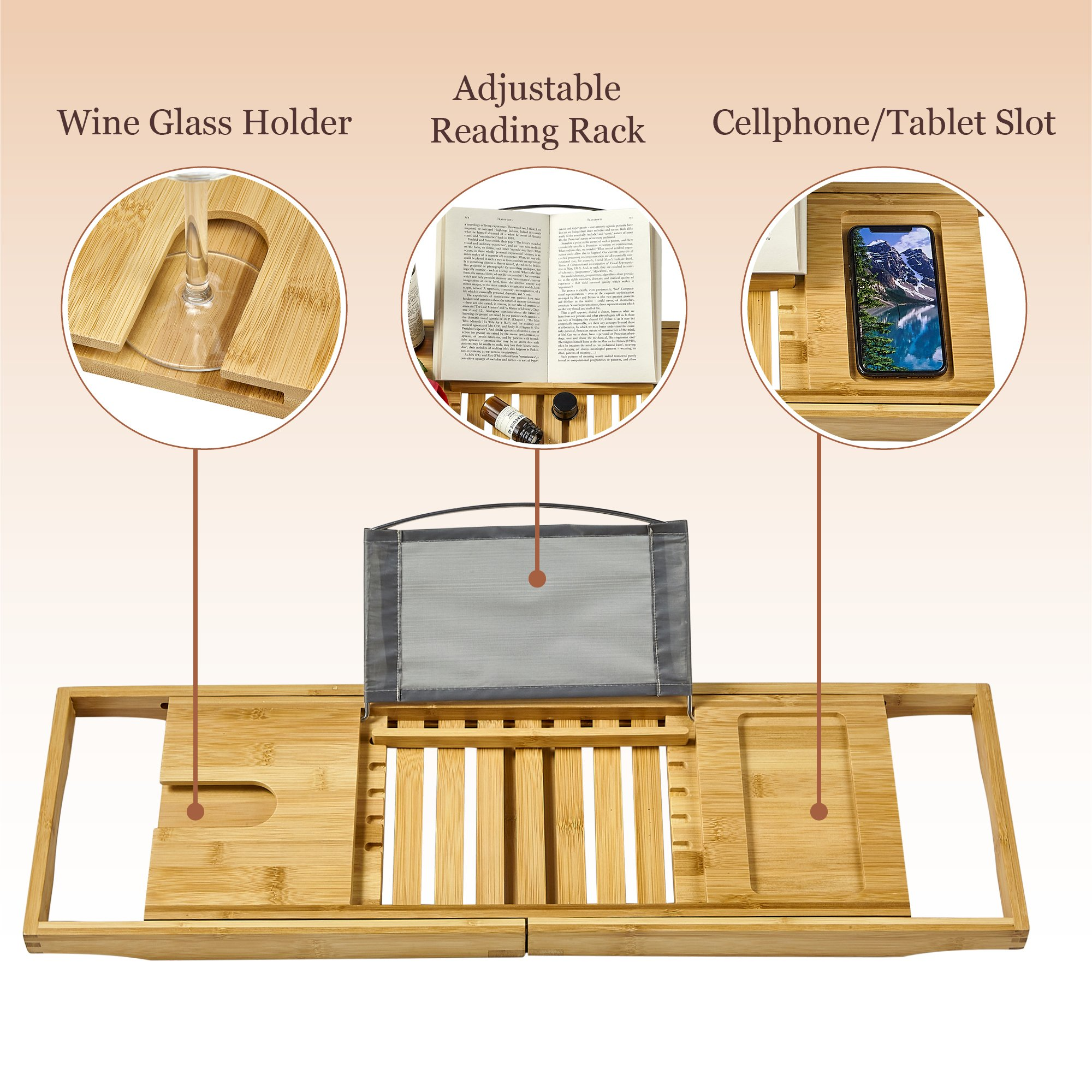 Tregini Luxury Bathtub Caddy - Extendable Bamboo Wood Bath Tray with Adjustable Book, iPad or Kindle Reading Rack - Wine Glass Holder - Cellphone or Tablet Slot by Tregini (Image #2)