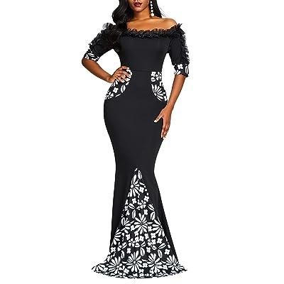 VERWIN Floor-Length Half Sleeve Print Off Shoulder Color Block Women's Maxi Dress Bodycon Dress at Women's Clothing store