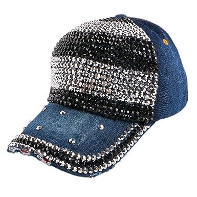 ab2b2a346 Doris Batchelor Nice Women baseball cap rhinestone crystal denim ...