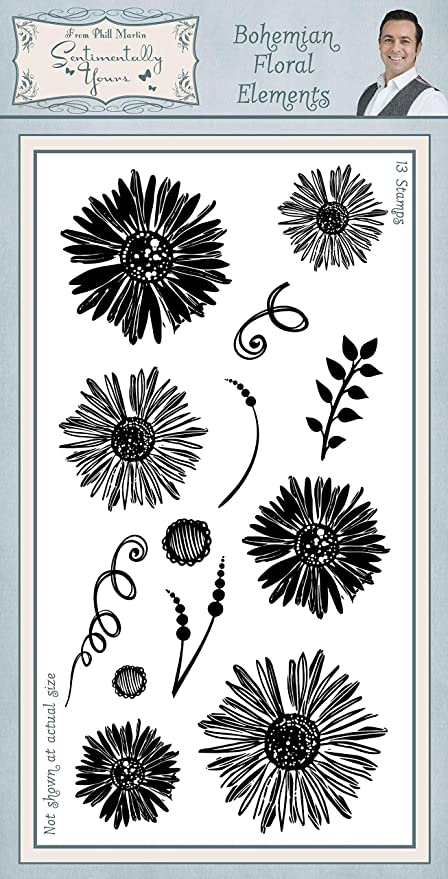 Sentimentallty Yours Bohemian Floral Elements DL Clear Stamp Set Phill Martin