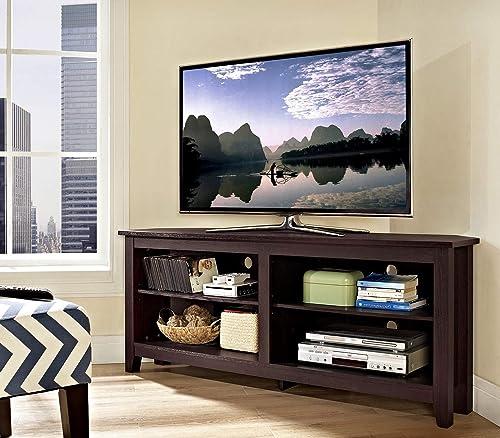UNIVERSAL LTD Corner TV Stand for 65 INCH TV, Entertainment Center 65 INCH TV, Space Saving Corner Design Espresso