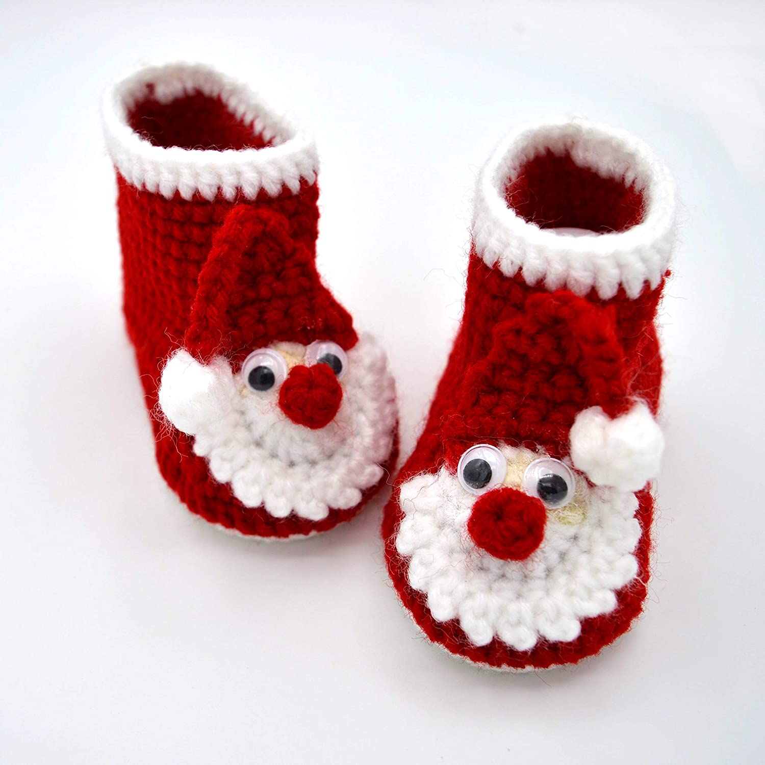 Christmas Booties, Red Baby Boots, Crib
