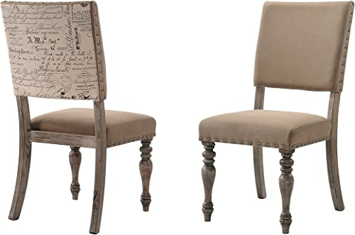 Roundhill Furniture Birmingham Script Printed Driftwood Finish Dining Chair