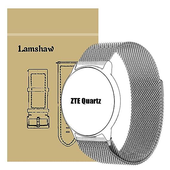 ZTE Quartz Smartwatch Band, Lamshaw Milanese Magnetic Loop Stainless Steel Watch Strap for ZTE Quartz Smartwatch (Silver)