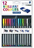 Staedtler Back-to-School 12 Brilliant Multi Colors Triplus 0.3mm Fineliner Pens with Case