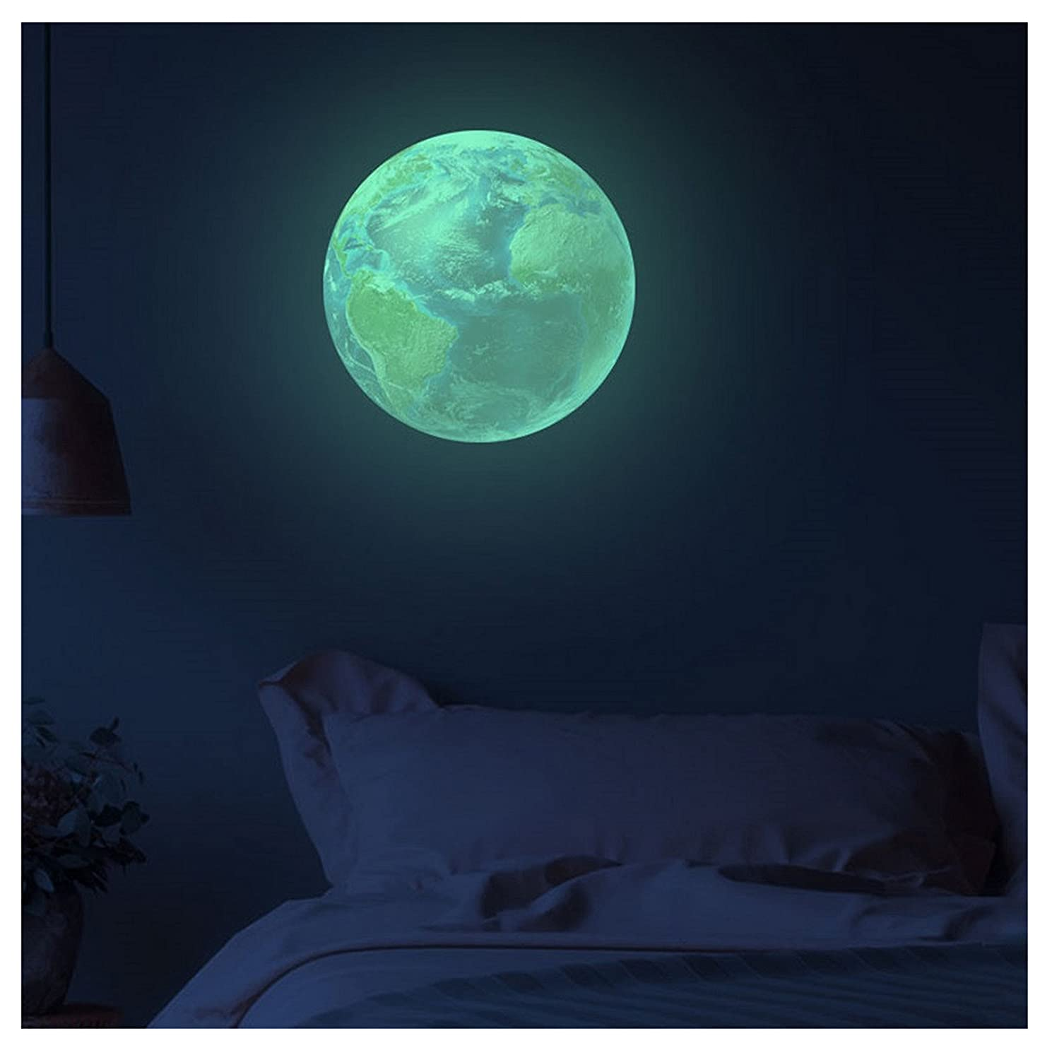 30Cm 3D Planet Earth Glow Wall Stickers Decal Baby Kids