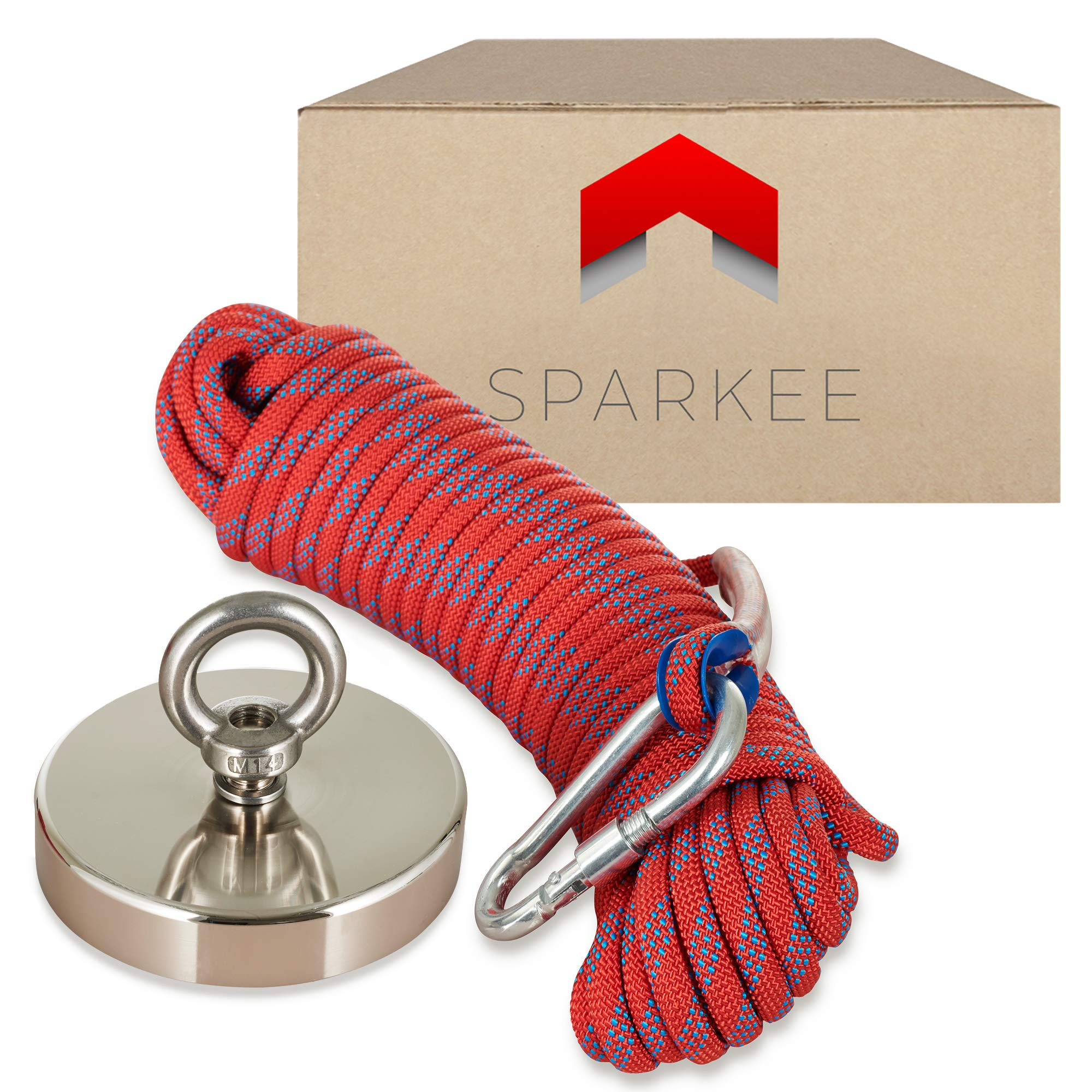 Sparkee Fishing Magnet Kit - 1333lb Super Strong Neodymium Magnet 4.72'' with 8mm 65ft Long Paracord Rope& Carabiner for Magnet Fishing, Underwater Treasure Hunting, Lifting & Retrieving Metal Objects by SPARKEE