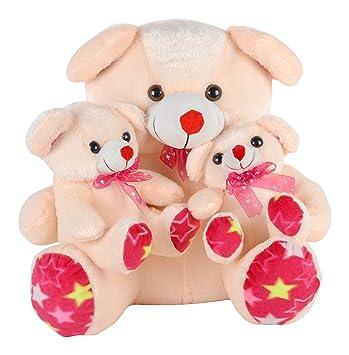 SRT Mother Baby Two Children Soft Toy, Cream 38 cm