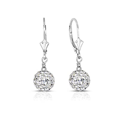 e4c5647d0a589 Amazon.com: 14k Gold 8mm White Crystal Pave Ball Drop Earrings with ...