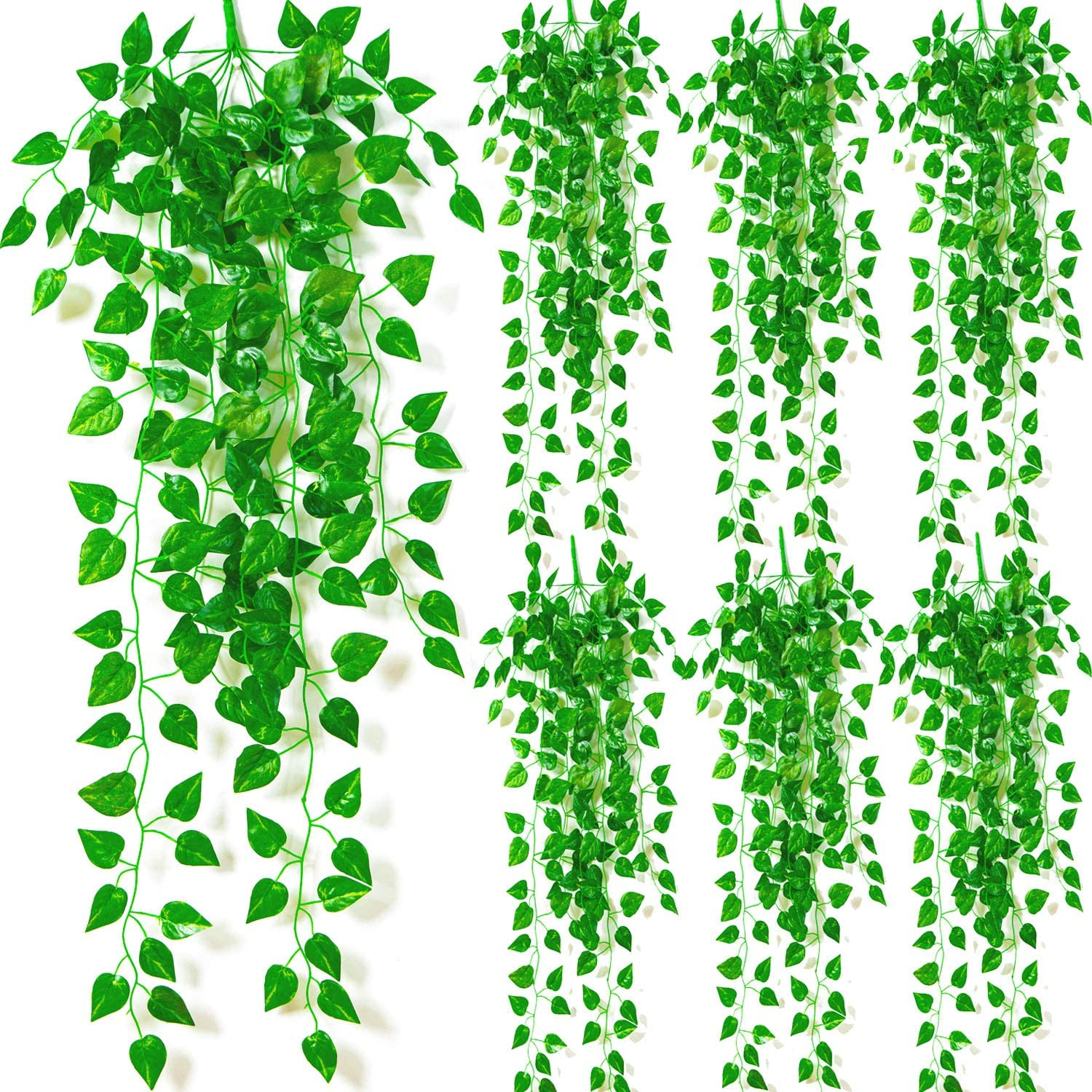 Naidiler 7 Pcs Artificial Hanging Plants, Fake Hanging Plants Vines Faux Ivy Plants Indoor Hanging Décor for Room Celling Photo Shelf, Outdoor Decorations for Porch Wall Fence