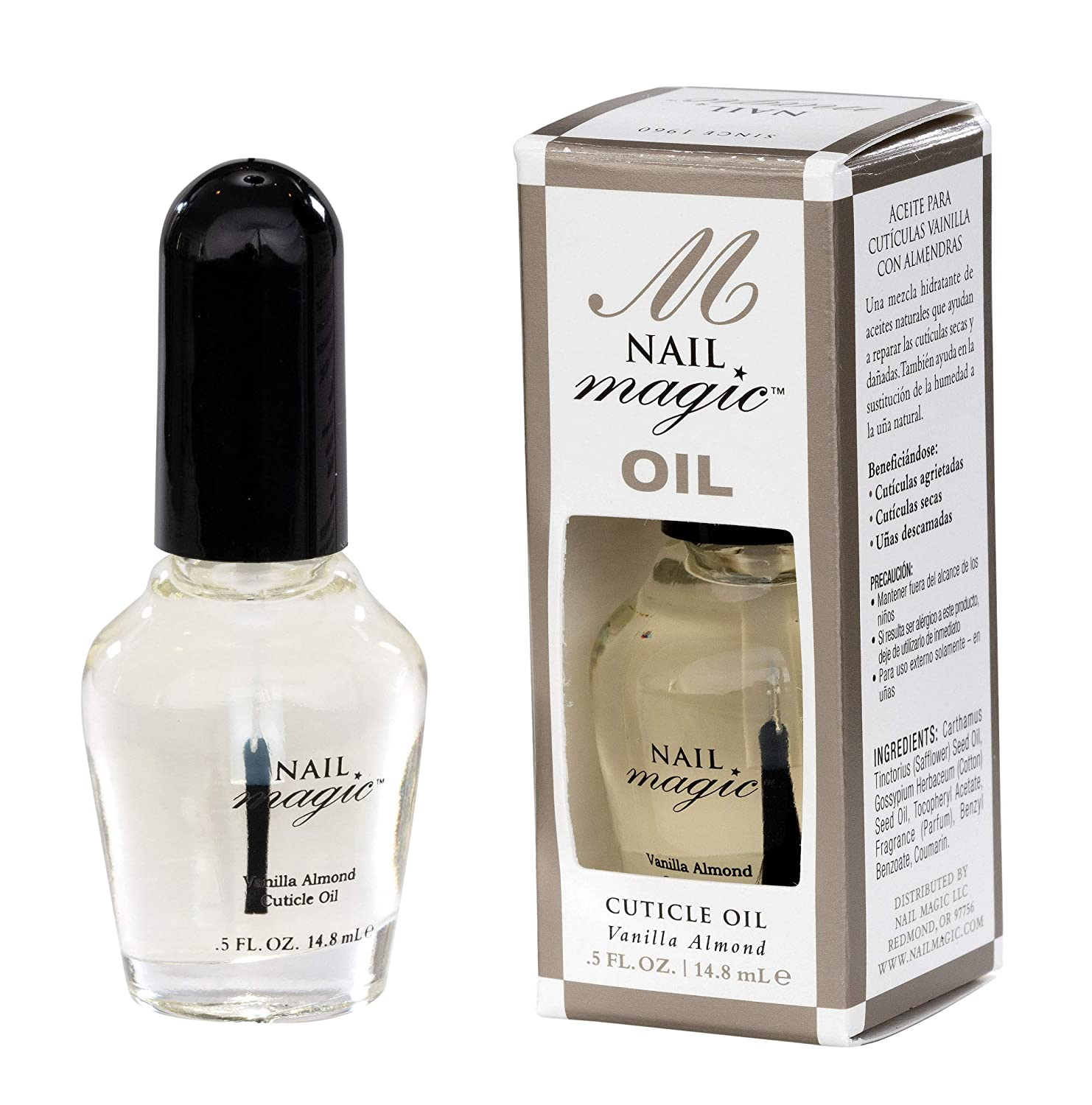 Nail Magic Nail Cuticle Oil, Vanilla Almond, Assists with Peeling Fingernails, Reduces cracking cuticles, 0.5 fluid oz: Beauty