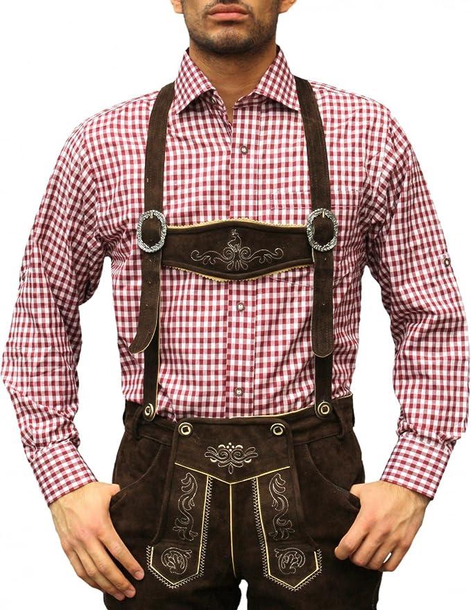 German Wear - Camisa para traje tradicional bávaro o bávaro Morado y rojo. XXXXL: Amazon.es: Ropa y accesorios