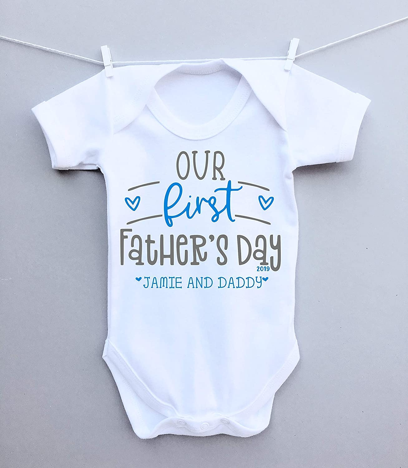Personalised our first Fathers Day heart baby bodysuit vest