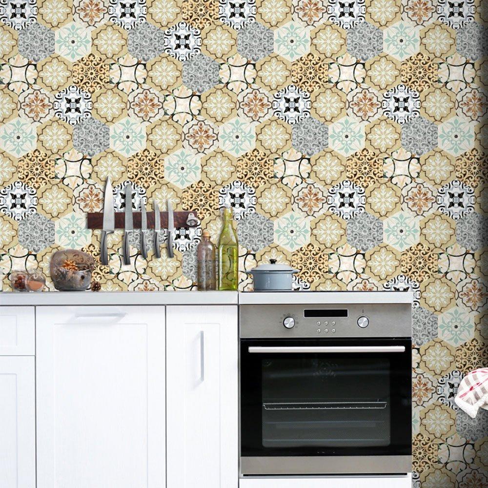 Haihuic Etiqueta de la Pared 3D Pelar y Pegar Backsplash Waterproof DIY Wallpaper para bañ o Cocina Autoadhesivo Home Decor Simulation Wall Tile 20 x 200 cm
