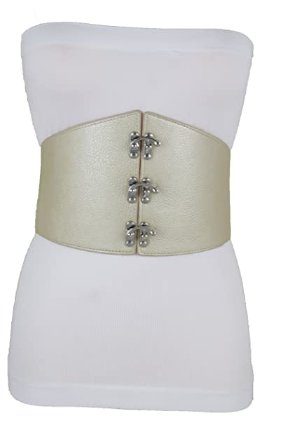 734f3ce7ed1 Trendy Fashion Jewelry TFJ Women Corset Belt High Waist Wide Elastic  Waistband S M Champagne Gold Beige