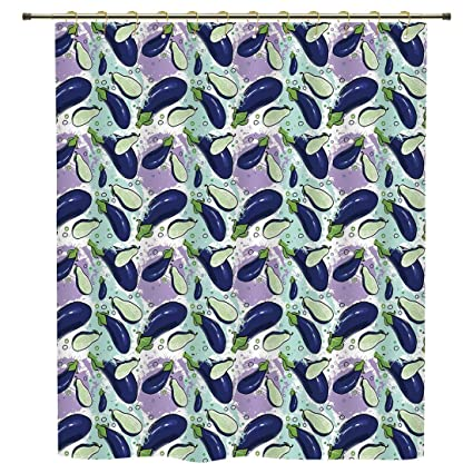 IPrint Shower CurtainEggplantLuscious Sliced Aubergines In A Multicolored Environmnet Tasty And Natural