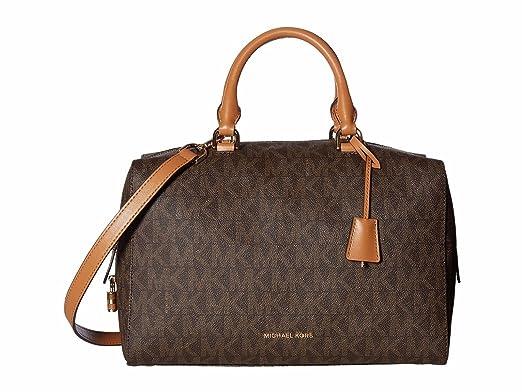 1516e533634ca9 Michael Kors Women's Large Kirby Logo Satchel Leather Top-Handle Bag Tote -  Brown