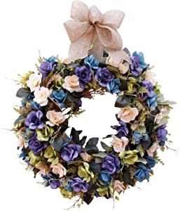 U'Artlines 16'' Artificial Wreath Hanging Rose Garland Swag for Indoor Outdoor Window Wall Wedding Party Decoration (Floral Wreath, 16'' Rose Blue/Cream)