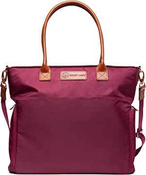 Sarah Wells Abby Breast Pump Bag with Real Leather Straps (Berry)