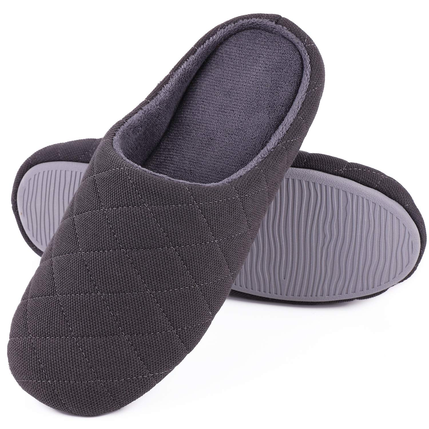 Men's Comfort Quilted Cotton Memory Foam House Slippers Slip On House Shoes (Large / 11-12 D(M) US, Dark Gray)