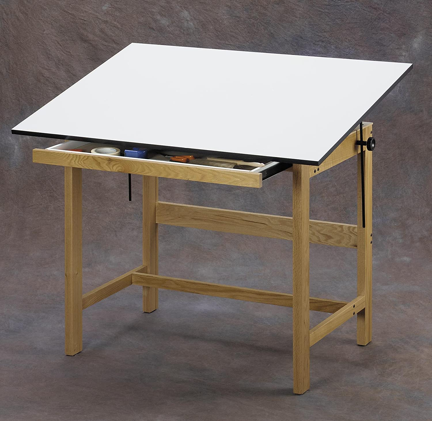 Amazon.com: Alvin WTB48 Titan Solid Oak Drafting Table Natural Finish 36  Inches X 48 Inches X 37 Inches: Kitchen U0026 Dining