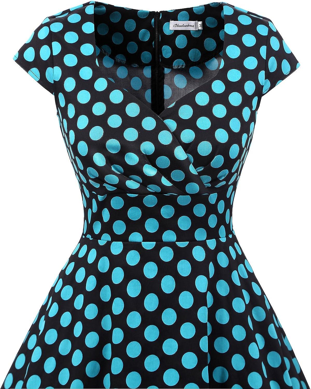 Bbonlinedress 1950er Vintage Retro Cocktailkleid Rockabilly V-Ausschnitt Faltenrock