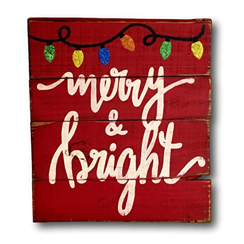 Merry And Bright Wood Sign Rustic Christmas Vintage Decor