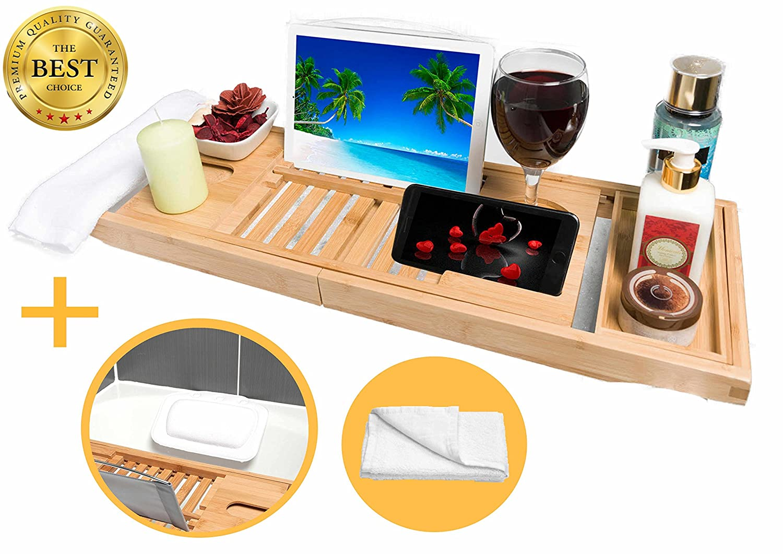 en bambou de bain Caddy, iPad/tablette/livre/support pour verre de vin avec une baignoire Spa Taie d'oreiller et serviettes pour le visage par la source naturelle The Natural Source