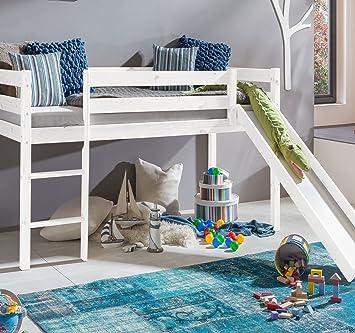 Kinderhochbett weiß mit rutsche  Kinderbett Hochbett mit rutsche Leiter Hochbett Spielbett Kiefer ...