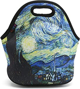 ICOLOR Blue Starry Night Lunch Bag Tote, Soft Insulated Neoprene Food Container, Boys Girls School Office Travel Outdoor Work Lunchbox Handbag, Waterproof Food Storage Carrying Case(F-LB-167)