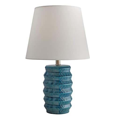 Rivet Mid-Century Modern Geometric Ceramic Living Room Table Lamp with Light Bulb and White Shade, 23 H, Blue
