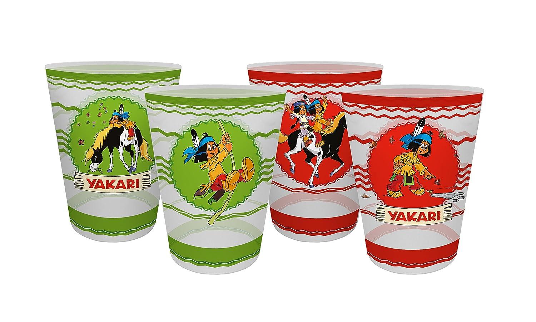 Kunststoff 4-Einheiten Yakari 4er Set Mehrfarbig Mehrwegtrinkbecher 8 x 8 x 10,5 cm 2017