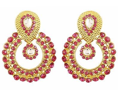 bff93471f13 Touchstone Indian Bollywood Round Bali Shape Traditional Kundan Polki Jadau  Pink Fuchsia Long Bridal Designer Jewelry