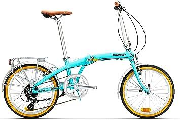 Conor Bicicleta Autumn Plegable Turquesa. Bicicleta para Ciudad Dos Ruedas. Bici para Adultos. Bike para desplazarse cómodamente por la Ciudad y compacta. Ruedas 20 Pulgadas. Cambio de 6 velocidades.: Amazon.es: Deportes y