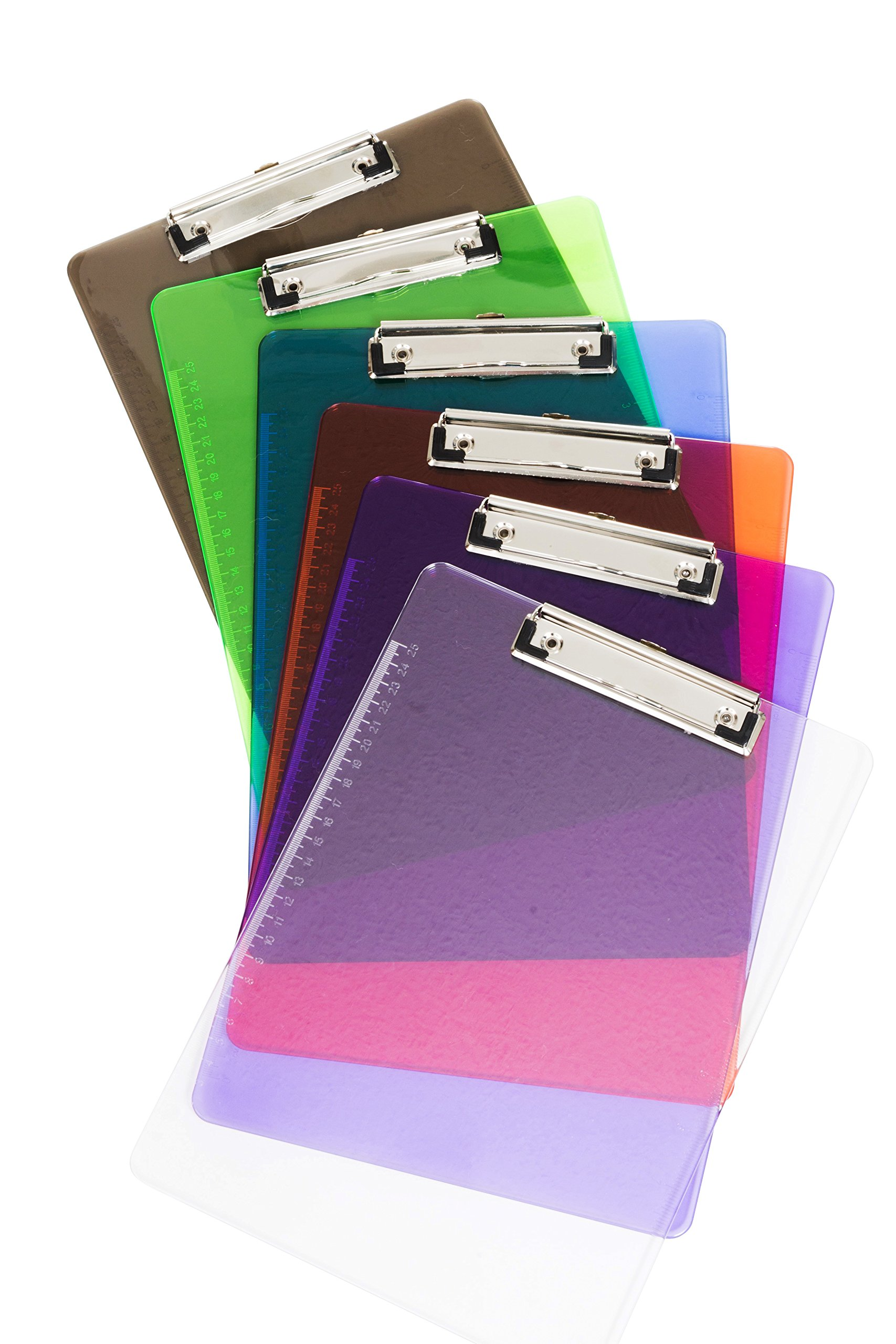 6 Pack Assorted Transparent Color Plastic Clipboards, Low Profile Clip, Clipboards for classrooms, offices, restaurants, doctor offices, 6 Plastic Clipboard Pack