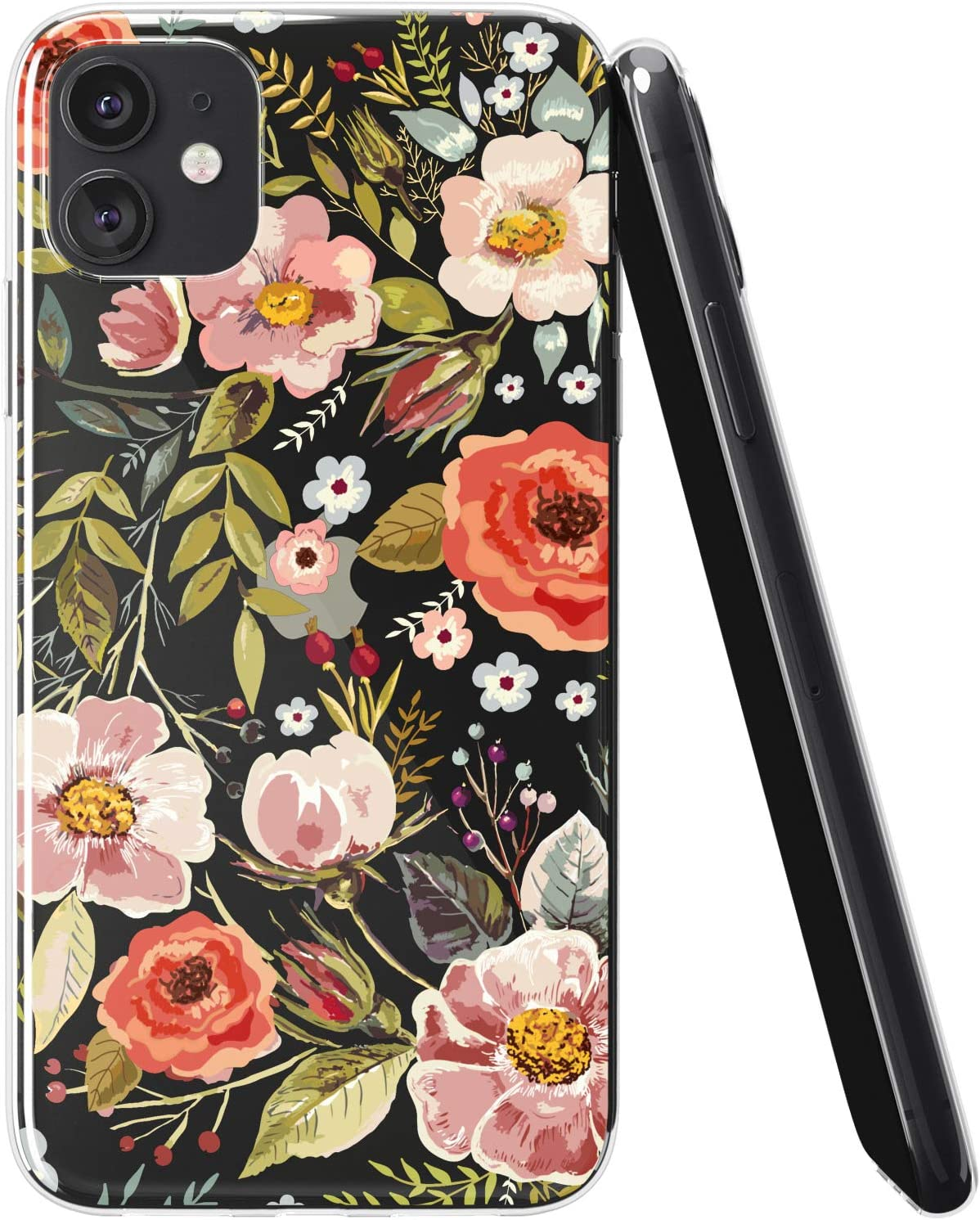 Vonna Phone Case Compatible with Apple iPhone 12 Pro Max 12 Mini 12 Pro 12 5G Pattern Floral Flexible Art Poppy Roses Cover Blossom Herb Smooth Print Flower Design Slim fit Soft Wild a205
