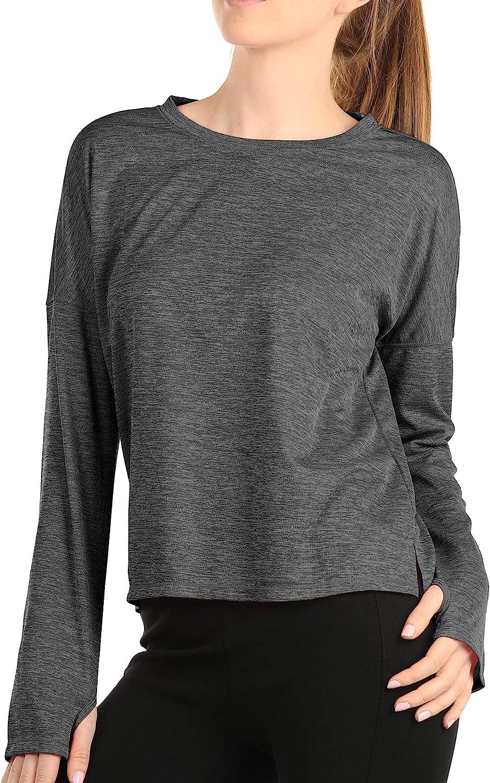 icyzone T-Shirt Sport /à Manches Longues Femme