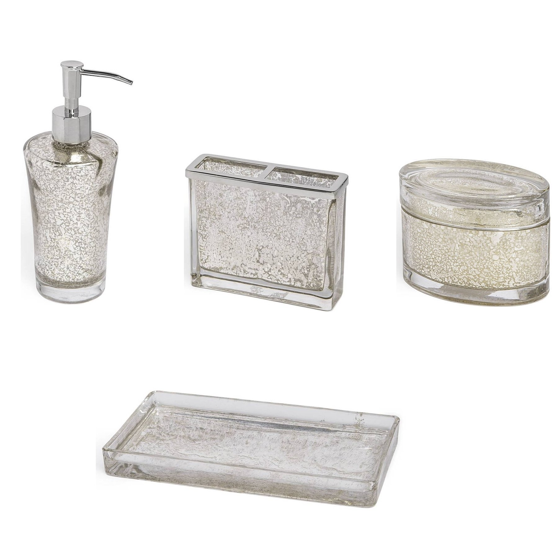 4-Piece Bath Accessory Set by Kassatex, Vizcaya Bath Accessories | Lotion Dispenser, Toothbrush Holder, Tray, Cotton Jar