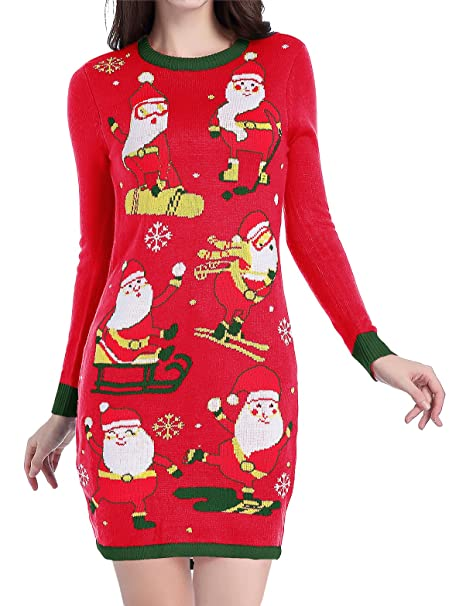 Women Christmas Sweater Dress.V28 Women Christmas Sweater Ugly Ladies Cute Bear Xmas Knit Sweater Dress