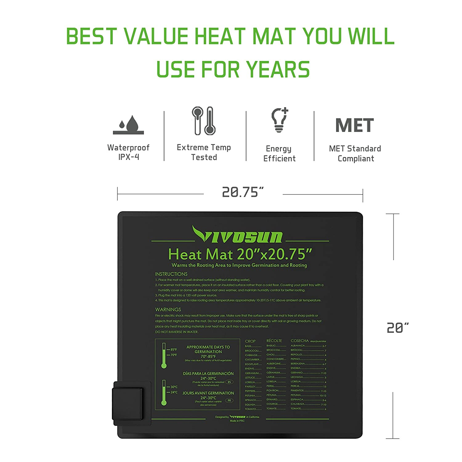 Vivosun Durable Waterproof Seedling Heat Mat Warm Wiring Tape Reptile Forums Information Hydroponic Heating Pad 20 X Met Standard Garden Outdoor