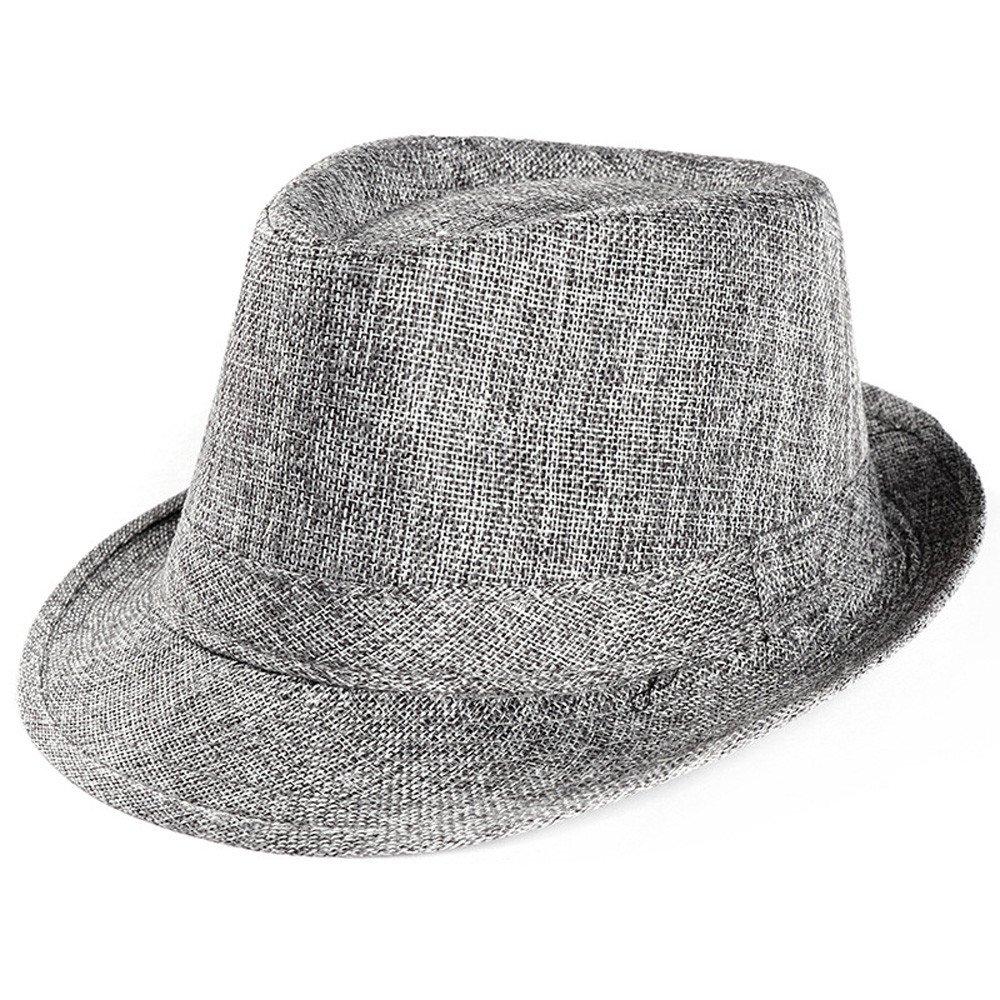 CapsA Foldable Summer Straw Hat Wide Brim Fedora Sun Beach Hat for Women Men Trilby Gangster Cap