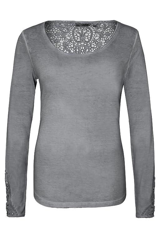 8db5e58f76d0 Urban Surface Damen Vintage Longsleeve mit Spitze   Elegantes Langarmshirt  mit Rundhalsausschnitt aus Leichter Viskose Light-Grey XL  Amazon.de   Bekleidung
